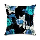 WEIANG Fundas para Cojines De Dos Caras Cojín Decorativos Estilo Retro Azul Negro Flores Floral Almohadas para Casa Sofá 45x45cm