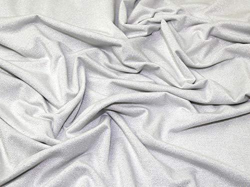 Minerva Crafts Lurex-Jersey-Stoff, Weiß/silberfarben – Meterware