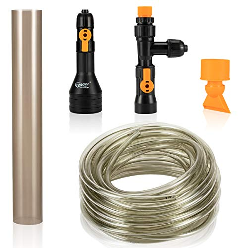 hygger 49ft Automatic Aquarium Water Changer Siphon Fish Tank Gravel Vacuum Cleaner with Flow Control Valve Water Hose