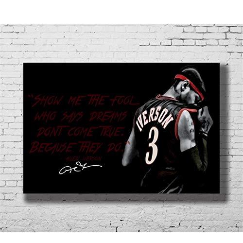 nr Allen Iverson Basketball Sports Works Familienplakat Korridor Wandmalerei Dekoration Druck auf Leinwand 60X90cm ohne Rahmen