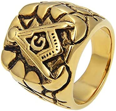 Cfbcc Limited Special Price Stainless Steel Masonic Portland Mall Ring Gothic Gold Freemason Biker M