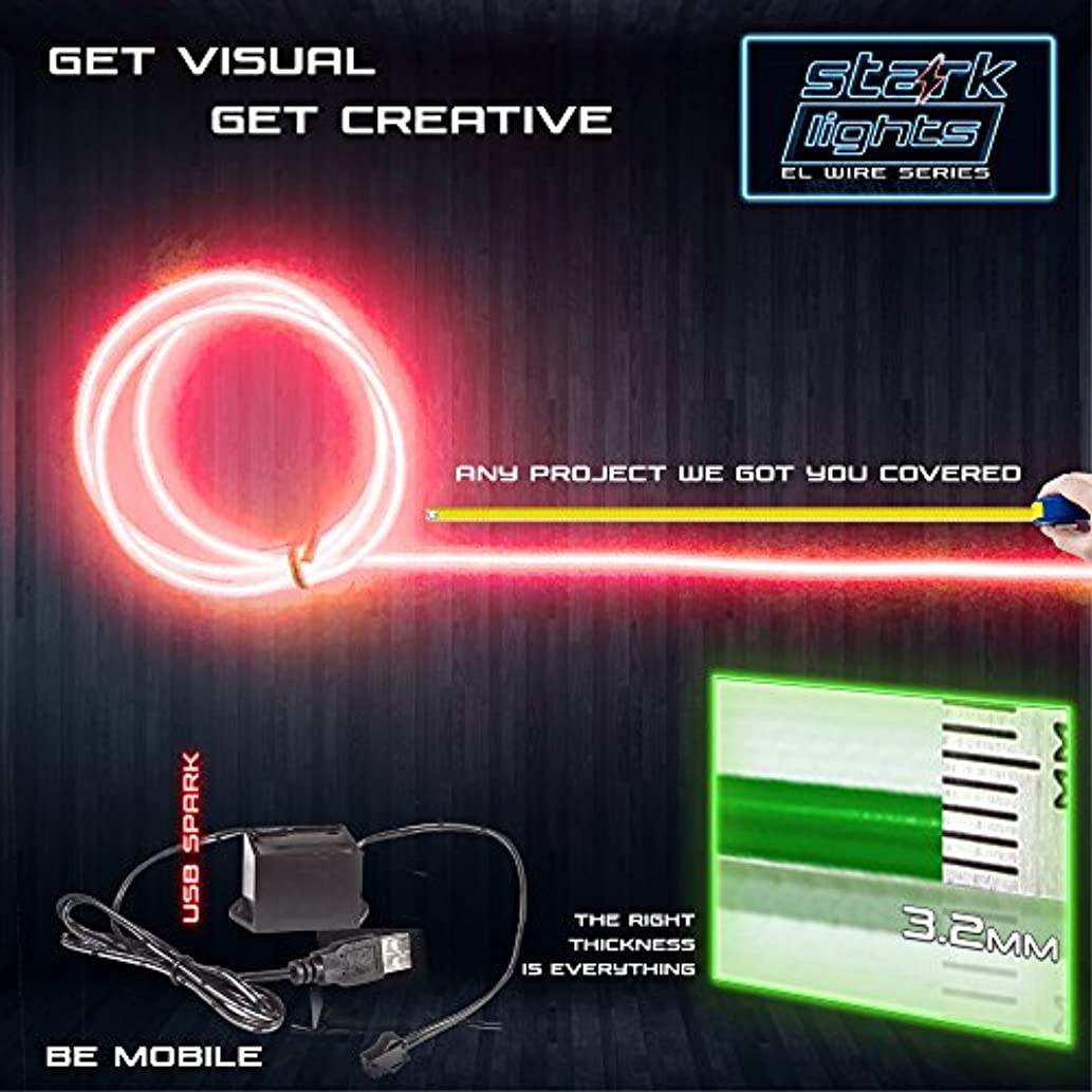 5m/16.4ft Large 3.2 mm Thick - Red Neon LED Light Glow EL Wire - Powered by USB Port - Electroluminescent Wire String Light for DIY Project Costume Accessories Cosplay