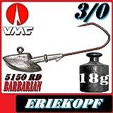 Anzuelos de Pesca de Adrenalina VMC Jigkopf Eriekopf tamaño 3/0 en 18 g VMC Barbarian 5150 RD 10 Unidades en el Set