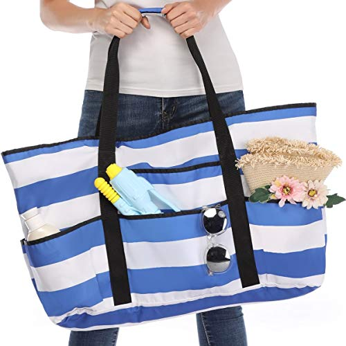 Beach Bag, Extra Large Beach Bags Totes for Women with Zipper Blue Pool Bag Toy Tote with Oversized Pockets (blue strips) …