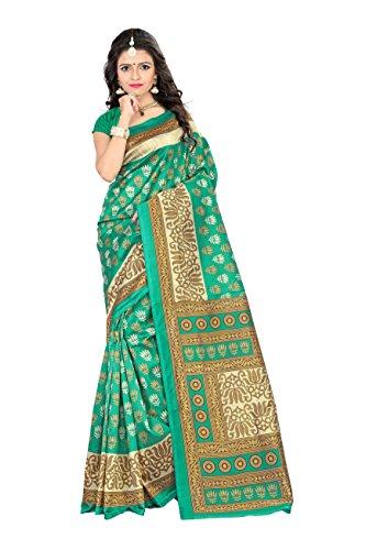 Jaanvi - Sari - Floral - para Mujer Verde Verde Free Size