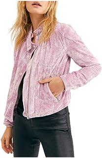 Chaqueta Moto de Terciopelo Free People Dusk Till Dawn para Mujer, Talla XL - Rosa