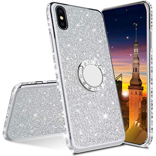 MRSTER Funda para iPhone 7 Plus, Glitter Bling TPU Bumper Brillante Diamante Protector Case con Soporte Ring Kickstand de 360 Grados Carcasa para Apple iPhone 7 Plus / 8 Plus. Silver
