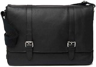 Cole Haan Double Buckle Leather Laptop Messenger Bag (Black)