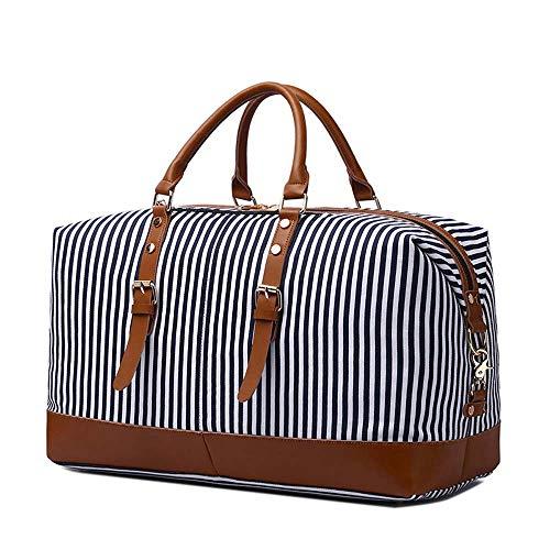 Neuleben Reisetasche aus Canvas Leder Groß Weekender Tasche Handgepäck Damen Herren für Reise Urlaub (Streifen)