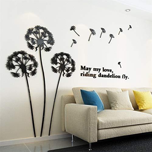 HSIOVE DIY Home Decoration Spiegel Wandaufkleber Modern Design Löwenzahn Acryl Aticker Wohnzimmer TV Hintergrundkunst Tapeten Wandbild (Color : 193 Black Sticker)