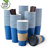 Bulex 16oz Paper Coffee Cups With Lids, 120 Sets Disposable Coffee Cups with Lids, Hot Beverages To Go Coffee Cups With Sleeves