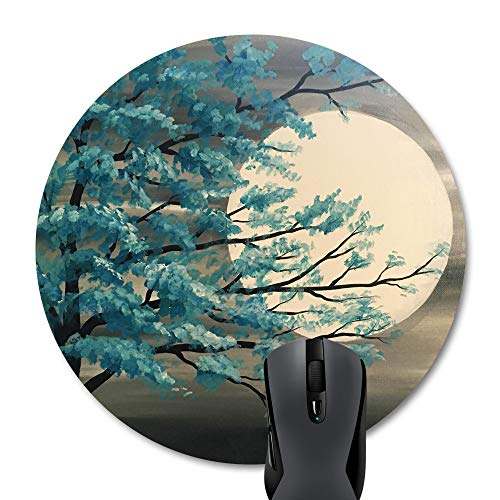 Wknoon Round Mouse Pad Custom, Vintage Teal Tree in Moonlight Print Art Circular Mousepad