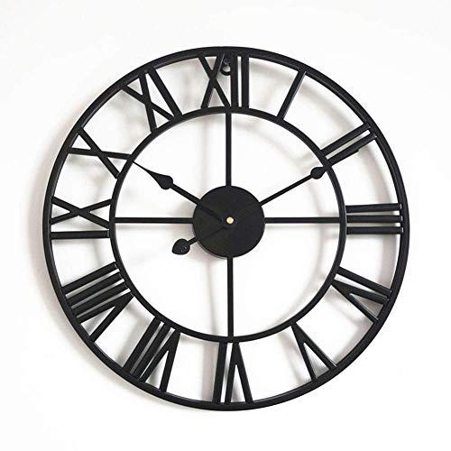 Cijfer Ronde wandklok, retro handgemaakte Iron Skeleton Opknoping Klok Modern Design Boerderij Slaapkamer alarm clock (Color : D, Size : 40CM)