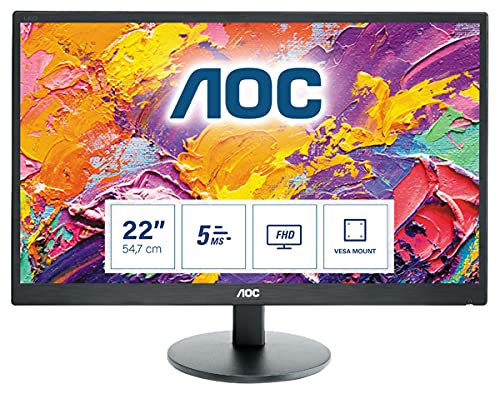"""AOC Monitores E2270SWDN - Monitor de 21.5"""" (resolución 1920 x 1080 pixels, tecnología WLED, contraste 600:1, 5 ms, VGA & DVI), color negro"""