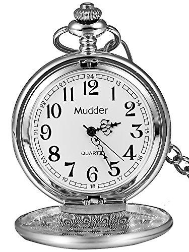 Regalo di Natale liscio classico Vintage argento Acciaio Mens Pocket Watch