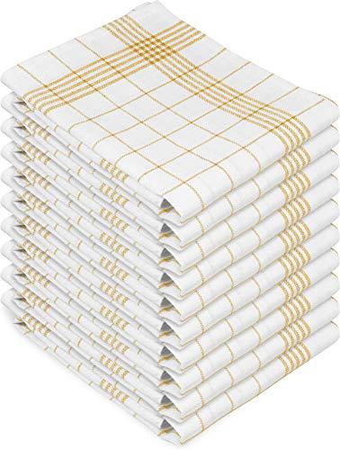 normani 10 x Hochwertige, saugstarke Halbleinen Geschirrtücher Gläsertücher waschbar bis 60° C Farbe Gelb-Kariert Größe 60 x 80 cm