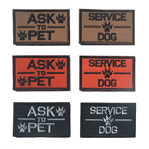Service Dog Ask to Pet Embroidered Tactical Morale Patch Badge for Dog Pet Tactical Vest 6 PCS