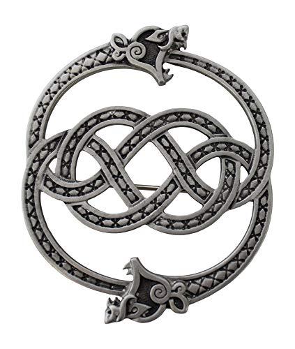 Celtic Art Stunning Jewellery Matte Pewter Zoomorphic Celtic Serpent Sash Plaid Brooch
