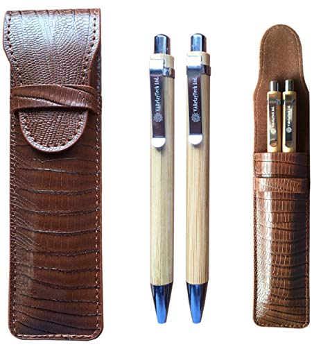Bamboo Ballpoint Pen and Mechanical Pencil Set with PU Leather Pouch, Spare Refills, and Gift-Box