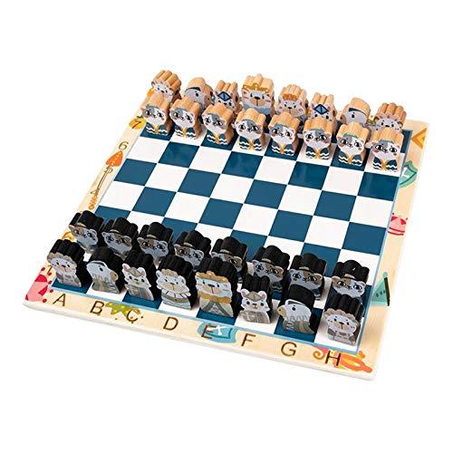F Fityle Juego de ajedrez de Madera Chessman King & Queen Chessboard Accesorio Mesa Tradicional Juego de Mesa para niños 30x30
