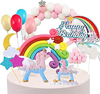 Unicorn Party Cake Topper Kit with 2 Unicorns Sculpture, Rainbow Balls Cloud for Unicorn Birthday Party Supplies