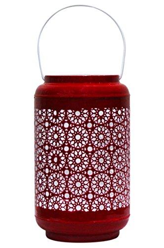 Orientalisches Windlicht Laterne orientalisch Balram 24cm Rot Groß | Orientalische Vintage Teelichthalter Goldfarben innen und außen | Marokkanische Windlichter aus Metall als Ostern Dekoration