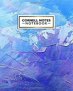Cornell Notes Notebook: Nifty Large Cornell Note Paper Notebook. Cute College Ruled Medium Lined Journal Note Taking System for School and University - Trendy Blue & Purple Oil Paint Print