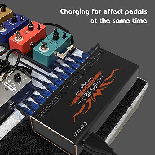 Getaria Fuente dealimentación del pedal para guitarra con 10 salidas de 9V/12V/18V para pedales de efectos de guitarra,cables incluidos
