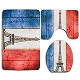 JOOCAR 3-teiliges Set rutschfester WC-Vorleger + WC-Deckelbezug + Badvorleger, fantastische französische Flagge mit Pariser Eiffelturm, weich & schön