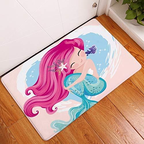 Alfraza para exteriores al aire libre Rosa de dibujos animados de la sirena de cola de pescado antideslizante alfombra de baño alfombra de la puerta del piso estera del juego alfombra azul de onda for