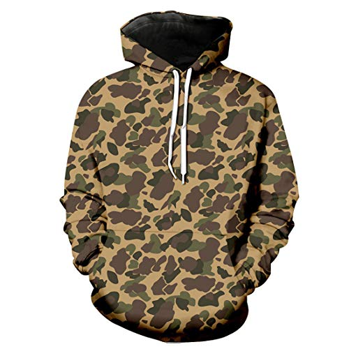CAZOY Men's Pullover 3D Funky Ugly Print Christmas Xmas Sweatshirt Hooded Hoody Hoodies Tops with Kangaroo Pockets Drawstring Mens Camouflage/Floral Warm Fleece Cotton Linen Loose Party Shirts Tops