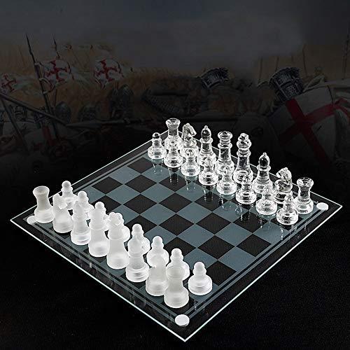 Yinghuawen Manuelles Glasschachspielset, Schachfiguren aus massivem Glas und Kristallspiegelschachbrett for Jugendliche, Erwachsene, Geschenk (Verschiedene Größen) (Size : 35 * 35cm)