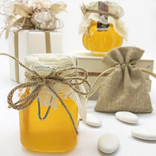 Ingrosso e Risparmio Tarro hermético para miel decorado con tapa de encaje, disponible en dos formas diferentes, bombonera para alimentos estilo Shabby Chic (color azul)