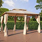 U-MAX 13 'x 9' Outdoor Patio Gazebo, Double Tier Soft Top Canopy Garden Gazebo with Shade Curtains