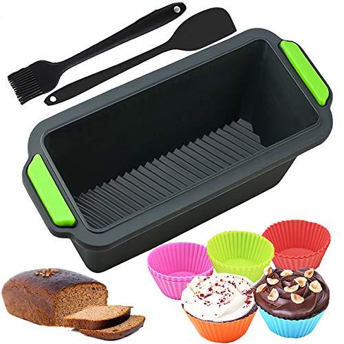 INSANYJ Silikon Brotbackform, Kastenform Brotbackform Set, Antihafteigenschaft Silikon Brotform & 1 Spachtel,1 Bürste und 10 Stück Mini Wiederverwendbare Kuchenform, für Kuchen,Muffins und Brote