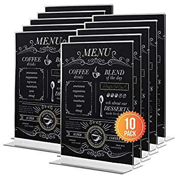 5x7 Acrylic Sign Holder 10-Pack | Ideal Display Stand Table Sign Holder Menu Holder Table Card Holder Acrylic Stand Plastic Sign Holder | Hero Moose