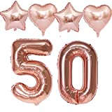 Globos de 100 cm con número 50 para cumpleaños y niñas, color oro rosa + 4 globos de aluminio con números 50, globos de helio de color oro rosa para 50 cumpleaños para niñas, decoración número 50