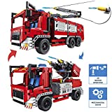 CELMAN QIHUI Funktionsgerecht Bausteine - Feuerwehrfahrzeug mit Wasserspritzen 2 in 1, Mechanical Master Blocke 1288 Teilen
