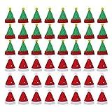 Abaodam 48 mini sombreros de Navidad a la moda de Navidad Lollipop Sombreros de Lollipop Wraps Toppers Candy Packing Sombreros de botella de vino Tapas (24 sombreros de Navidad y 24 tapas Genius)
