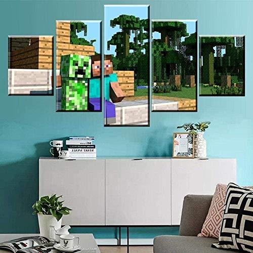 DXNB 5 Panel Minecraft Steve Creeper Spiel Leinwand Gedruckte Malerei für Wohnzimmer Wandkunst Wohnkultur Bild Kunstwerk Modernes Poster 40x60 40x80 40x100cm Kein Rahmen