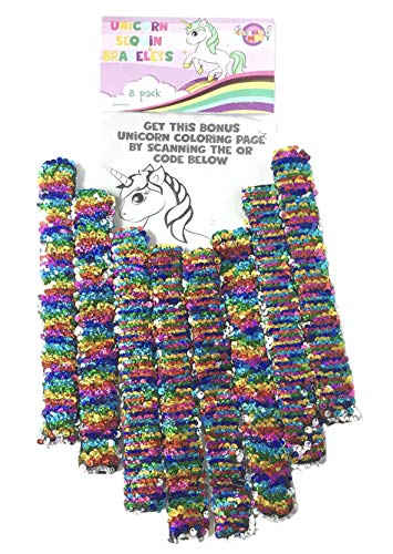 Unicorn Slap Bracelets Party Supplies, Gifts, Favors, Games, Toys for Girls, & Kids, Pack of 8 Reversible Rainbow Color Sequin Wrap Around Wrist Bands or Hair Ties for Birthday Parties, or Christmas