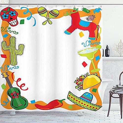 ASDAH Fiesta douchegordijn Cartoon Tekening Stijl Mexicaanse Pinata Taco Chili Peper Suiker Schedel Patroon Gitaar Stof Badkamer Decor Set met Haken Rood Oranje 66 * 72in