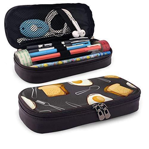 Pu Leder Bleistiftetui Spiegeleier Brot und Gabel Löffel Leder 3D Nano gedruckt Bleistiftetui Tasche Reißverschluss Niedliche Pen Pencil Case Box
