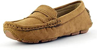 2018 Men's Slipper Flat, Boys, Casual Girls, Suede, Microfiber, Leather, Penny Moccasins Kids Boat Shoes, Brown, 1 UK Child (Color : As Shown, Size : One Size)