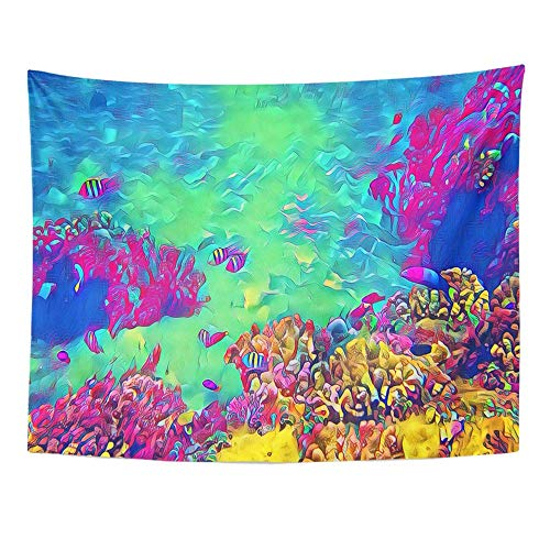 Wandteppiche, Tapestry Wall Hanging Underwater Landscape with Tropic Fish Seashore View Fantastic Digital Tropical 60