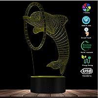 3Dイリュージョンナイトライトアニマルズキュートオーシャンドルフィンアクロバットショー記念3Dナイトライトビジュアルデスクランプアニマルデコレーションノベルティランプ記念ギフト照明