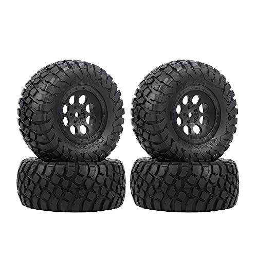 INJORA RC Wheel Set 4pcs RC Wheel Rim and RC Tires for 1:10 RC Short-Course Car TRAXXAS Slash VKAR 10SC (AX4005)