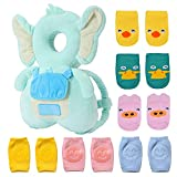 7 Pack Baby Head Protector 1 & Baby Knee Pads for Crawling 3 Pairs & Baby Socks 3 Pairs,Baby Walking Suit, Cute Blue Elephant (B)