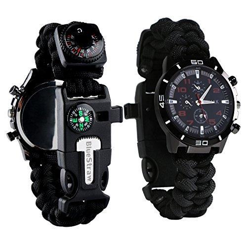 Reloj de supervivencia de pulsera 6en 1, multifuncional, impermeable, con cuerda de paracaídas, silbato, pedernal, rasqueta, brújula y termómetro, negro