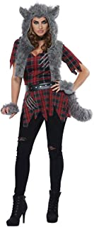 Women's She-Wolf - Adult Costume Adult Costume, Red/Gray, Small